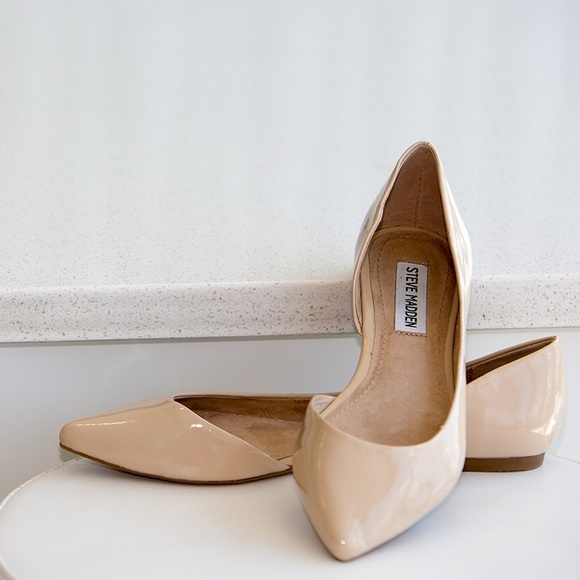 5116521ddf2 Steve Madden Patent Leather Nude Elusion Flats